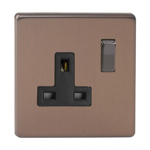 Varilight XDY4BS.BZ Screwless Brushed Bronze 1 Gang 13A DP Single Switched Plug Socket